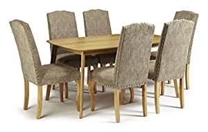 westminster fixed solid oak rectangular table 6 kensington bark chenille fabric chairs with. Black Bedroom Furniture Sets. Home Design Ideas