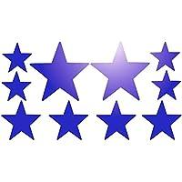 Lote de 10 unidades, color azul, diseño de estrella Adhesivos reflectantes reflectante