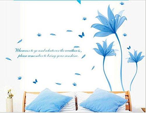 SmartLegend Abnehmbare Wandsticker Wandtattoo Größe: 90cm*60cm Blaue Blume Wohnzimmer TV Schlafsofa romantischen Hintergrund Wanddekoration Aufkleber