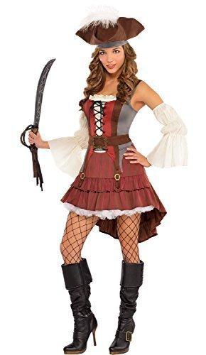 Castaway Piraten BUCANEER KOSTÜM KLEID OUTFIT mit Hut festival-karneval TV Buch Film Junggesellinnenabschied UK 8-16 - Braun, UK 8-10 (Piraten Outfits Für Erwachsene)