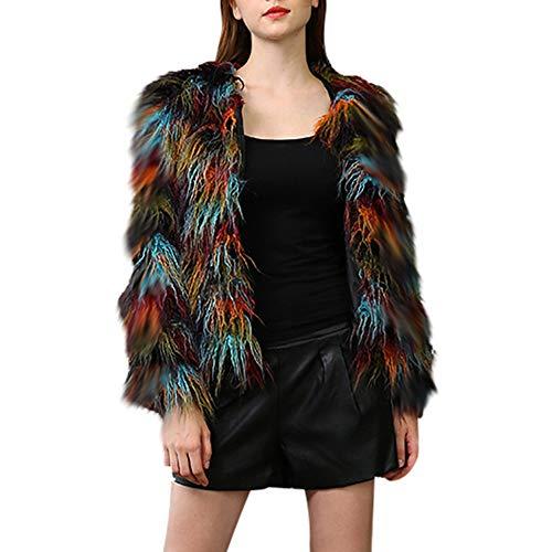 TWBB Damen Mäntel,Winter Faux Fur Mantel Patchwork Jacken Gradient Color Parka Strickjacke Outwear