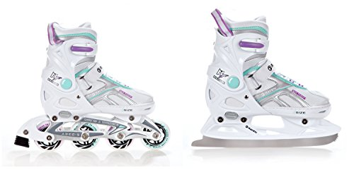2in1 Schlittschuhe Inline Skates Inliner Raven Pulse White/Blue/Violet verstellbar Größe: 37-40 (23,5-26cm)