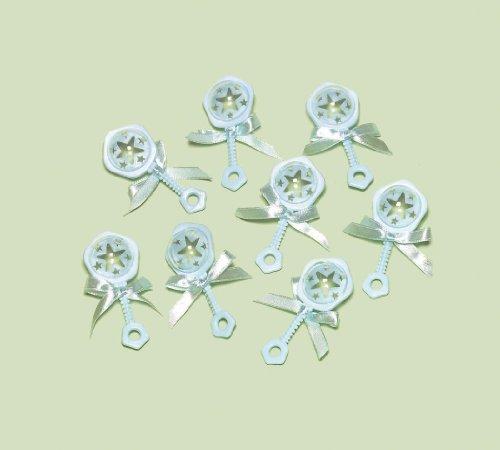 Amscan Blau Mini Kunststoff Baby Rassel für Charms