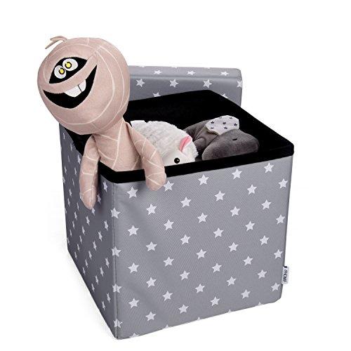 HOMIE Sitzbox, Aufbewahrungskiste, Sitztruhe, Spielzeugkiste, Hocker für Kinder, faltbar (30 x 30 x 30 cm) Grau mit Sternen