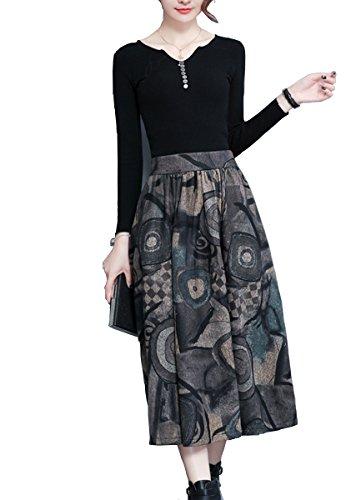 Tribear Damen Vintage Winter Herbst tartan mit hoher Taille flared röcke knielange Kleider (Tag M/EU 34-36, Grau1) (Taille Wollmischung)