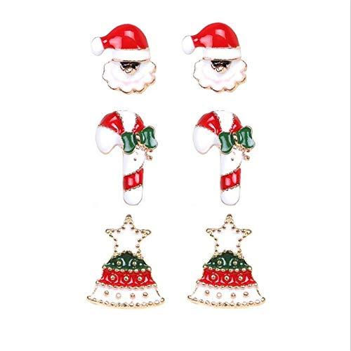 Gioielli di moda orecchini di alta qualità 3 paia 6pcs carino orecchini per le vacanze di Natale gioielli per le donne ragazze bambini ragazzi Babbo Natale albero di natale regali vacanza orecchini se