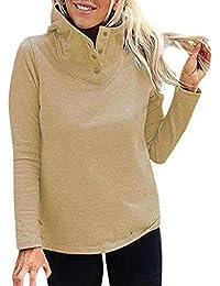 Luckycat Mujeres Sólido Collar de Soporte Manga Completa Botón cálido Outwears Sudadera Blusa
