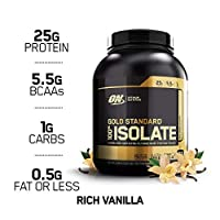 Optimum Nutrition Gold Standard 100% Isolate Hydrolyzed and ultra-filtered whey Protein Isolate - Rich Vanilla Flavor - 2.28 (5.02LB)