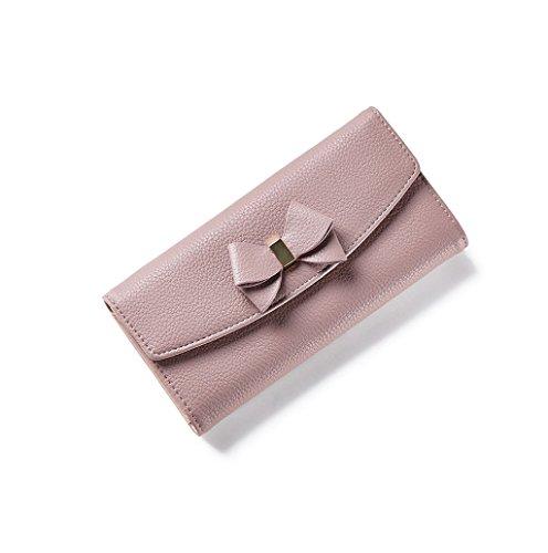 Dairyshop Cassa lunga della borsa della borsa della carta del raccoglitore della frizione della signora di cuoio della signora delle donne di modo (blu profondo) rosa