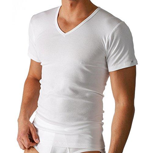 2er Pack Mey Herren T-Shirt - Noblesse - 2807 - Farbe Weiß - Größe 7 - V-Neck Shirt - Unterhemd V-Ausschnitt (V-neck-liege)