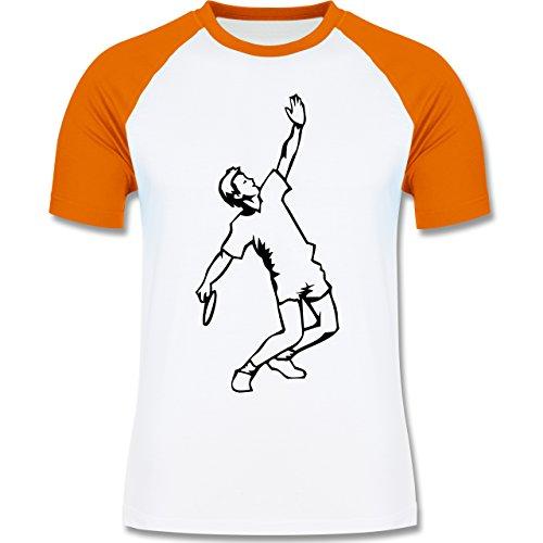 Tennis - Tennis - zweifarbiges Baseballshirt für Männer Weiß/Orange