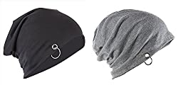 Zacharias Men's Slouchy Beanie Combo of Black and Grey