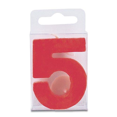 Zahlen-Kerze mit Halter, rot, Zahl: 5