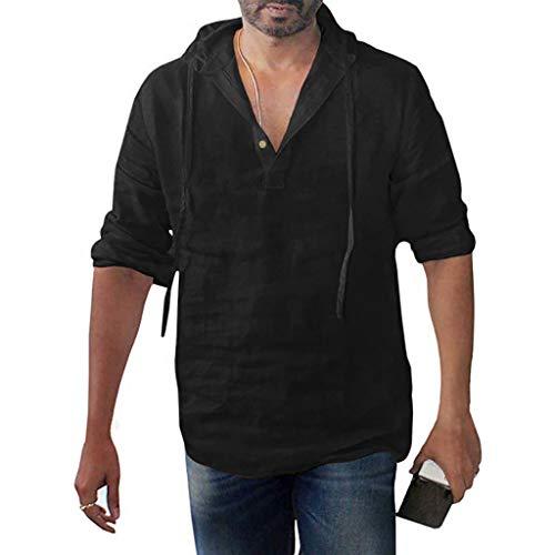 DNOQN Oversize T Shirt Herren Cashmere Pullover Slim Fit Bluse Herren Übergröße Langarm Baggy Baumwolle Leinen Solid Button Kapuzen Shirts Tops L
