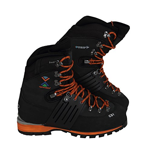 TEFANESO Bergschuhe Hochtourenstiefel Bergsteigen Herrenschuhe - Klettern, Wandern, Alpine Schnee Winter Outdoor Wasserdicht Bequem - Swiss Bergschuh (45, Orange & Schwarz)