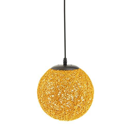 MagiDeal Landhaus Stil , E27 Rund Rattan Kugel Weidenkugel Decke Lampenschirm mit Kabel , für Glühbirne Pendelleuchte Hängeleuchte Deckenleuchte Wohnzimmer Dekoration - Gelb (Gelb-decken)
