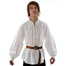 Schnürhemd Piratenhemd Hemd reine Baumwolle weiß -schwarz S-XXXL