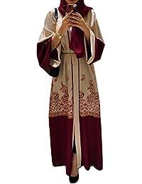 Zhhlaixing Longue Robe Cardigan Les Robes Les Musulmans Vêtements  D extérieur avec Ceinturé Manche Longue Islamique… fd5b95aa279