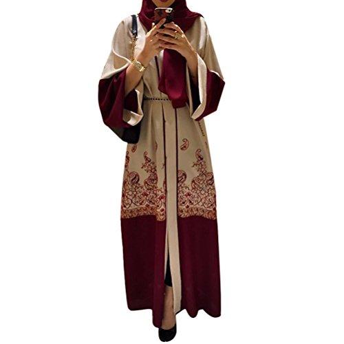 Zhhlaixing Moda Muslims Cardigan Impresión Dubai Rojo Suelto Túnica Islámico De Las Mujeres Cárdigan Largo Musulmanes Medio Este árabe Turquía Vestidos