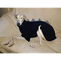 Dinosaur Dog Fleece Jumper/PJs/Pyjamas - All In One Whippet,Italian Greyhound, Saluki, Lurcher, Greyhound 5 sizes - Black With Grey Spikes