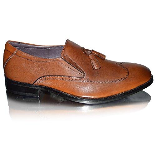 Pantofola In Pelle Pantofola Nappa Da Uomo In Pelle Gucinari Taglia Uk 11-11 Marrone Chiaro