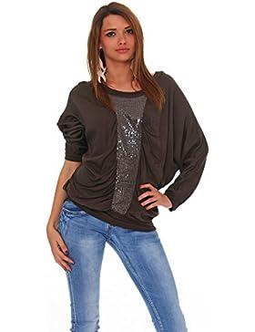 Moda Italy Blusa Mujer Loose Fit Blusa Básica Un Tamaño Blusa Camisa de manga larga con túnica con corte de murciélago...
