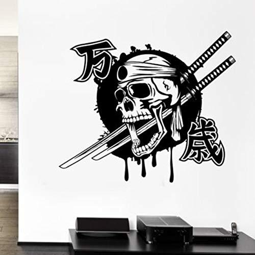 Wandaufkleber, Aufkleber Japan Ninja Poster Vinyl Kunst Wandtattoos Wohnkultur Wandbild Kendo Aufkleber 72x56cm -