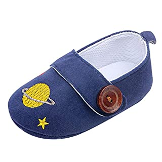 IGEMY- Baby Shoes, Newborn Baby Girls Boys Button Cartoon Embroidery First Walker Soft Sole Shoes (Age:0-6Month, Blue)
