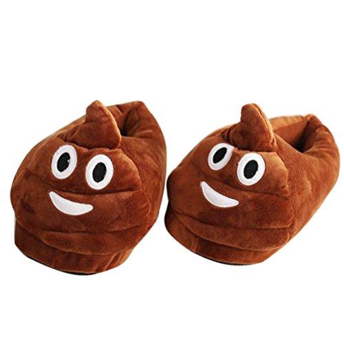 BP@ Pantofole peluche coperta pantofole a casa d'inverno per gli uomini e le donne pantofola smiley peluche Emoji Slipper Natale. (Poo, 35-41CN)