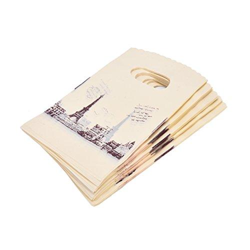 Tower-pc Kleine (100PCS Eiffel Tower Pattern Kleine Verpackung Bag Kunststoff Carrier Shop Boutique Punch Geschenktüten mit Griff 9* 15cm)