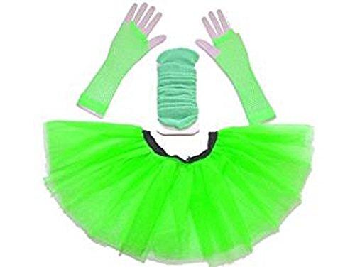 Neon Set (Damen 3 Layer Tutu Set, Beinwärmer & Fischnetz Handschuhe Größe 36-44 (Neongrün))