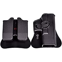 Tactical Rotary cinturón cintura Holster doble bolsa de pila revista Glock para Airsoft y Paintball, color negro