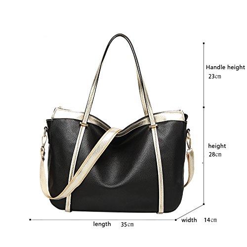 Sunas Borsa a tracolla delle donne di modo della borsa borsa morbida borsa retrò Messenger Phillips nero