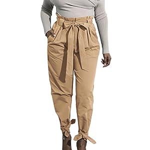 Providethebest Frauen-Mädchen Bowknot-Verband mit Hohen Taille beiläufigen Bleistift-Hosen-Fest Farbe Hose