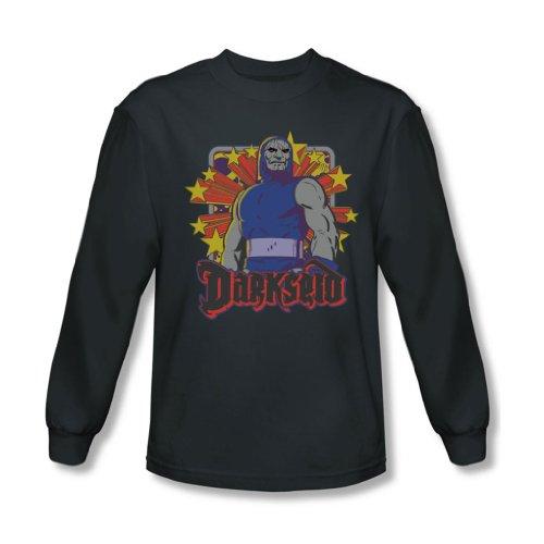 Darkseid Dc-Maglietta a maniche lunghe da uomo, motivo: stelle Grigio