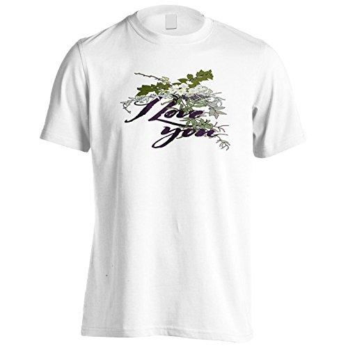 Nuovo Ti Amo Design Floreale Uomo T-shirt m329m White