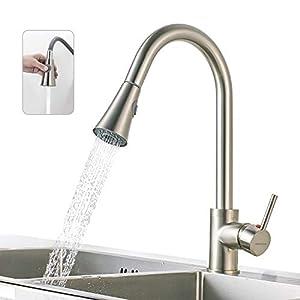 BONADE Moderno Grifo de Lavabo Mezclador Monomando para Lavabo del Cocina, Grifo del Fregadero con ducha extraíble