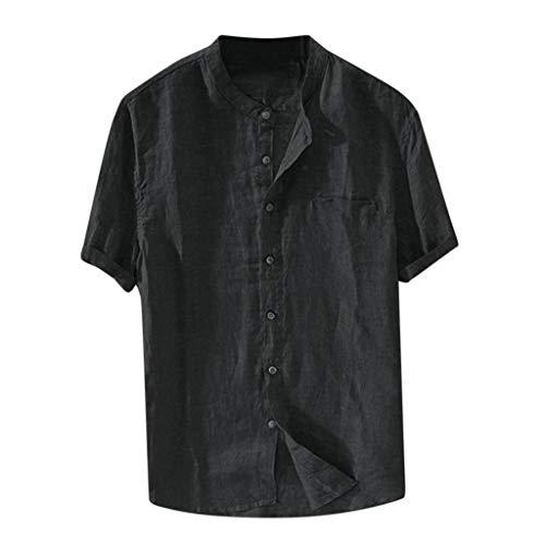 Vovotrade T-Shirt Polo Uomo Camicie da Uomo Allentata Comode E Traspiranti Lino Maniche Lunghe Stile Slim Estivo Slim Grandad Collar Spiaggia Camicie Shirts