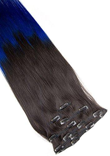Clip In Extensions Echthaar 7tlg SET - 55cm in #Ombre 1b/blue 7 teiliges Haarteil für komplette Haarverlängerung - Hochwertige dunkelbraune blaue ombré 100% Remy Echthaar Clip-In Extension