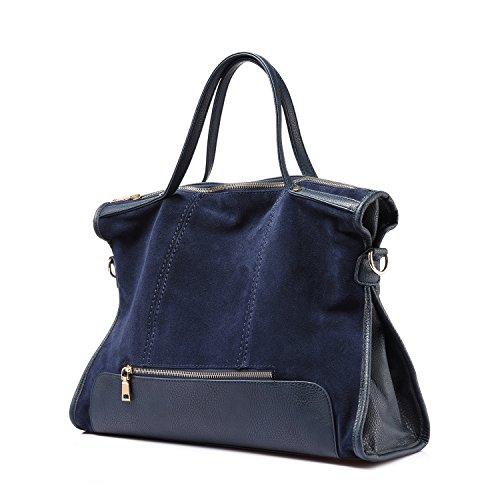 Sacchetto di spalla di affari delle borse della borsa del cuoio genuino del Nubuck Blu