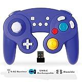 EXLENE Wireless Controller Gamepad für Nintendo Switch, Wiederaufladbar, Kompatibel mit PC/PS3, GameCube Stil, Motion controls, Rumble, Turbo (Blau)