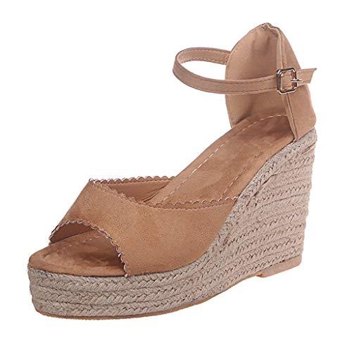 Sandalias Bohemias para Mujer,Tacones de Verano TacóN 7.5cm Zapatos Con Estampado de Leopardo Zapatos...