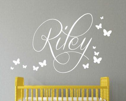 Preisvergleich Produktbild angyzb Kinder Wand Aufkleber–Kinderzimmer Aufkleber ¨ C personalisiertem Namen Aufkleber–Schmetterlinge–Kinder Name Aufkleber–Kinder Wand Aufkleber 40,6cm