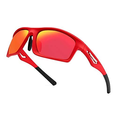 JIM HALO Herren- Polarisiert Sonnenbrille TR Tempel Sport Brille für Baseball Angeln Laufen Golf Radfahren Fahren(Rot/Polarisierter Blitz Rot)