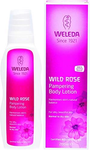 WELEDA Wildrose Verwöhnende Pflegelotion, Naturkosmetik Bodylotion zur intensiven Pflege, Stärkung und Regeneration sensibler Haut, Körperlotion für trockene Haut (1 x 200 ml) -