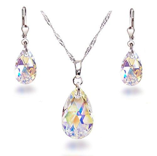 Schöner SD, Schmuckset mit Swarovski® Kristall Tropfen in Crystal Aurora Boreale, 925 Silber Rhodium