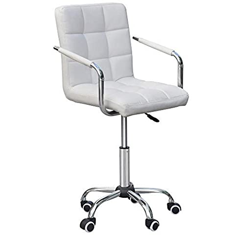 Tinxs® Leather Gas-lift Swivel Home Kitchen Office Bar stools Barcelona Chairs (White, A) by