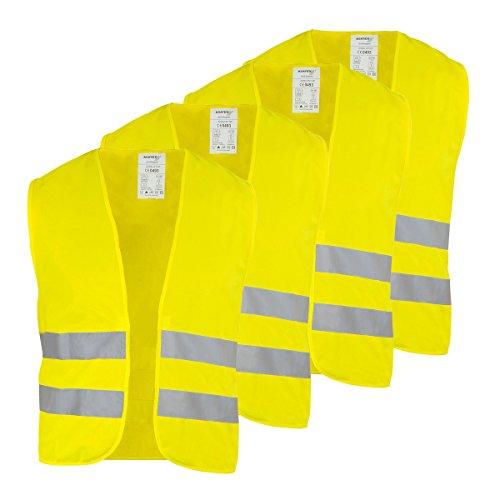 Preisvergleich Produktbild 4x KFZ Warnweste Sicherheitsweste Polyester gelb Unigröße Klettverschluss