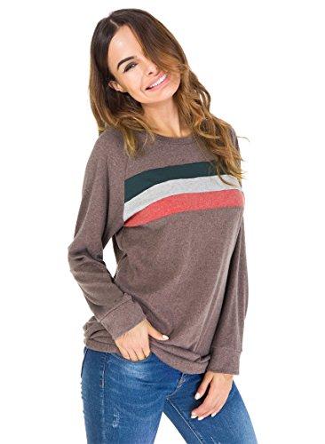 Jusfitsu Damen Casual Langarmshirt Elegant Sweatshirts mit Streifen Lose Oversize Lang Sweatshirt Pullover Tops Braun