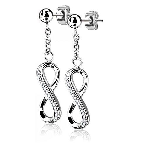 Bungsa Damen-Ohrringe Infinity Ohrhänger Unendlichkeitszeichen mit Kristallen silber I hochwertige Ohrstecker mit Anhänger Unendlichkeit für Frauen Edelstahl